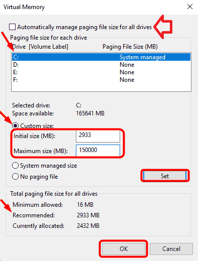 Cách fix lỗi Full Disk 100% win 10 - Reset Virtual Memory